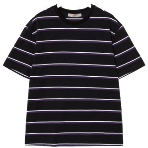 에잇세컨즈 남성 블랙 코튼 스트라이프 티셔츠 269442CY75_이미지