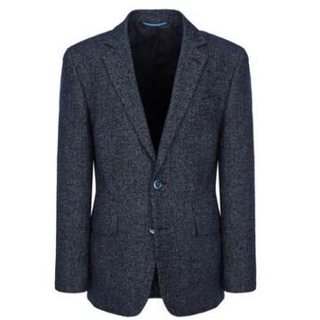 블루라운지 마에스트로 네이비 체크 울혼방 자켓