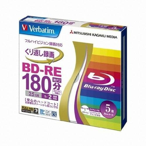 버바팀  BD-RE 25GB 2x 와이드 프린터블 슬림 (해외구매, 5장)_이미지