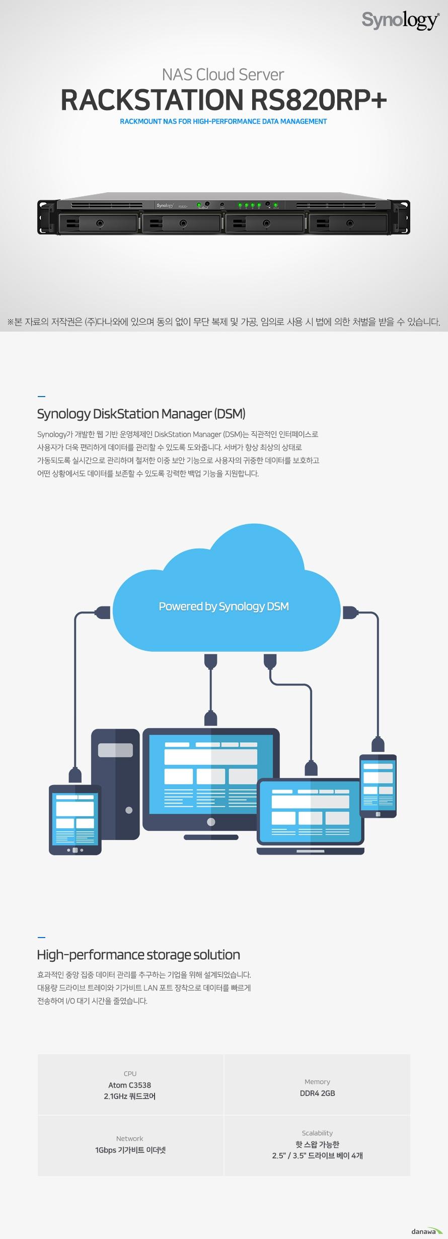 NAS Cloud Server RackStation RS820RP+ Synology DiskStation Manager (DSM) Synology가 개발한 웹 기반 운영체제인 DiskStation Manager (DSM)는 직관적인 인터페이스로 사용자가 더욱 편리하게 데이터를 관리할 수 있도록 도와줍니다. 서버가 항상 최상의 상태로 가동되도록 실시간으로 관리하며 철저한 이중 보안 기능으로 사용자의 귀중한 데이터를 보호하고 어떤 상황에서도 데이터를 보존할 수 있도록 강력한 백업 기능을 지원합니다. High-performance storage solution 효과적인 중앙 집중 데이터 관리를 추구하는 기업을 위해 설계되었습니다. 대용량 드라이브 트레이와 기가비트 LAN 포트 장착으로 데이터를 빠르게 전송하여 I/O 대기 시간을 줄였습니다. Ultimate Backup Solution 직관적인 사용자 인터페이스에 다양한 백업 응용 프로그램을 통합하고 있어, 지속형 저장소 기술을 통해 모든 장치에 있는 소중한 데이터를 보호합니다. Active Backup for Business 백업 작업을 한 곳에서 제어하므로, 콘솔 한 대에서 간단하게 관리할 수 있습니다. Hyper Backup 데이터가 로컬, 외부 장치, 클라우드에 포괄적으로 백업되므로, 데이터 안전성이 강화됩니다. Synology Drive Synology Drive Client로 실시간 데이터 백업 및 특정 시점 파일 복구를 수행하세요. Next-generation file system for better data protection Btrfs 파일 시스템은 데이터 손상을 방지하고 유지 관리 부담을 줄일 수 있는  고급 스토리지 기술과 최적화된 스냅샷을 도입합니다. 높은 수준의 데이터 무결성을 유지하면서 유연하고 효율적인 데이터 보호 및 복구 도구를 제공합니다. 폴더/사용자 할당량 제어 폴더/사용자 할당량 제어를 통해  공유 폴더의 할당량을 제어할 수 있습니다 스냅샷 복제 공유 폴더 백업 및 스냅샷과 함께 저장소 용량을 절약하는 데이터 보호를 제공합니다 자동 파일 자가 치료 사용자가 개입하지 않아도 손상된 파일을 감지하고 복구합니다 유연한 데이터 복구 파일 또는 폴더 수준 데이터 복원으로 빠르고 유연하게 데이터를 복구할 수 있습니다. Synology Office Synology Office 문서, 스프레드 시트 및 슬라이드를 사용 하여 업무 능률을 높여보세요. 실시간 파일 동기화 기능과 강력한 데이터 백업 및 보호 기능을 제공합니다.
