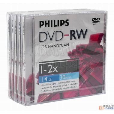 필립스 DVD-RW 1.4GB 2x 쥬얼 5장 미니_이미지