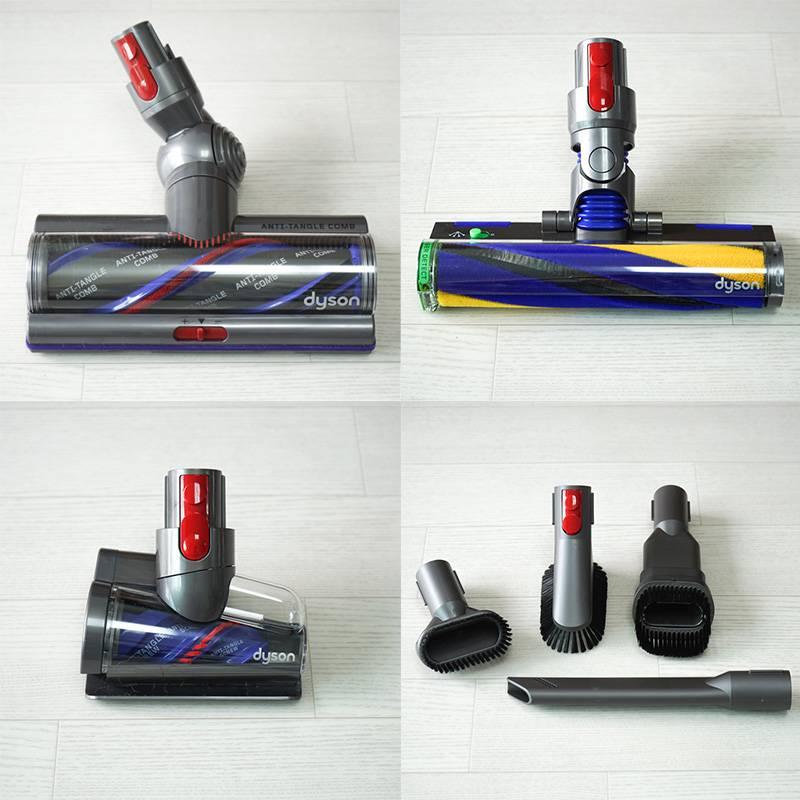 하이 토크 클리너 헤드(좌측 상단), 레이저 슬림 플러피(우측 상단), 헤어 스크류 툴(우측 하단) 및 브러쉬 툴. 출처=IT동아