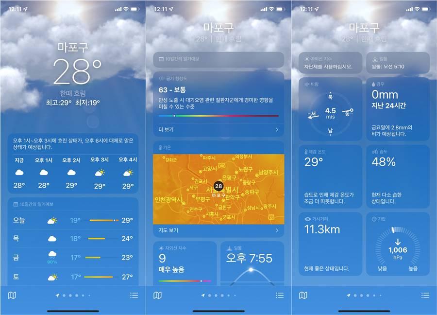 날씨 앱이 보여주는 정보