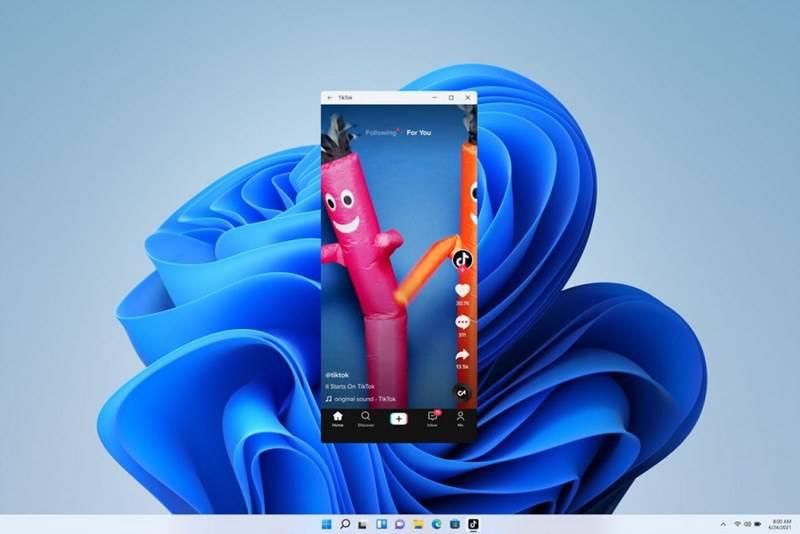 윈도 11에서 안드로이드 앱인 '틱톡'을 실행한 모습 (제공=마이크로소프트)