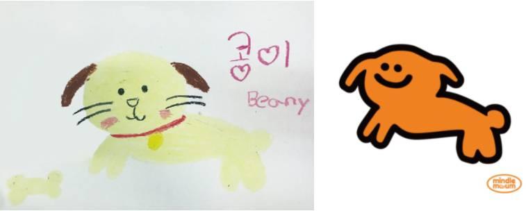 환아들이 그린 그림(왼쪽)을 바탕으로 캐릭터화(오른쪽) 한다, 출처: 민들레마음 블로그