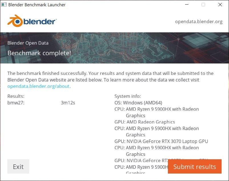 ▲ 블렌더 벤치마크. 라이젠 9 5900HX는 3분 12초로 확인된다. 인텔 코어 i7-10875H가 대략 5분 4초가 나오는데, 훨씬 더 빠르다.