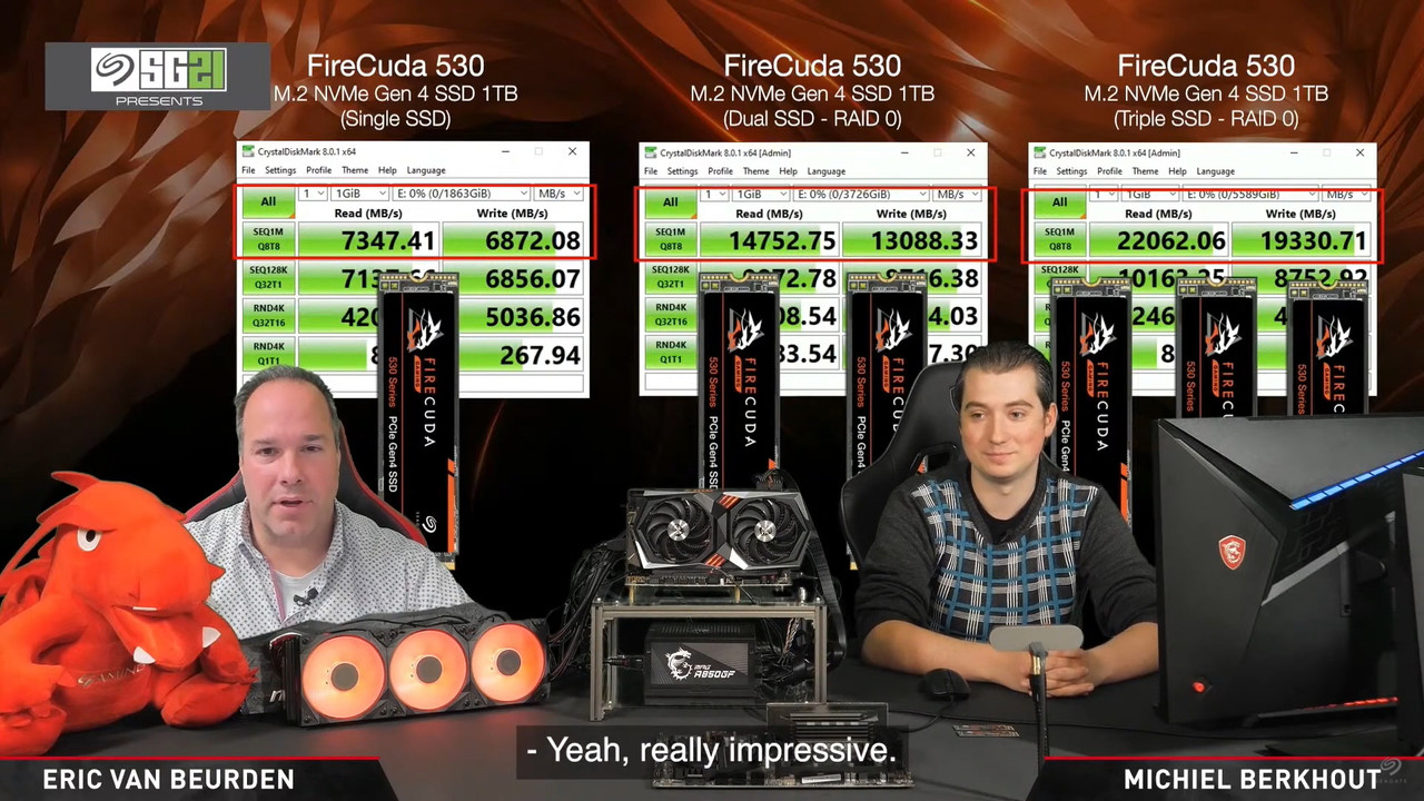 ▲ 읽기 7,300MB/s, 쓰기 6,900MB/s로 기존 PCIe Gen 4 NVMe SSD 능가하는 '파이어쿠다 530'