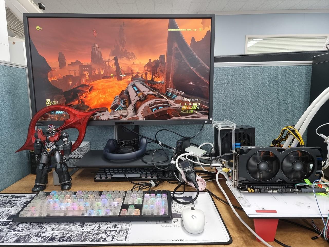 ▲ 라이젠 9 5900X, RX 570에서 게임 및 풀로드 테스트 등을 진행했다. 해당 시스템 구성 시 대략 600W 파워용량이 추천된다. 둠 이터널 구동 시 소비전력은 275W 정도로 확인된다.