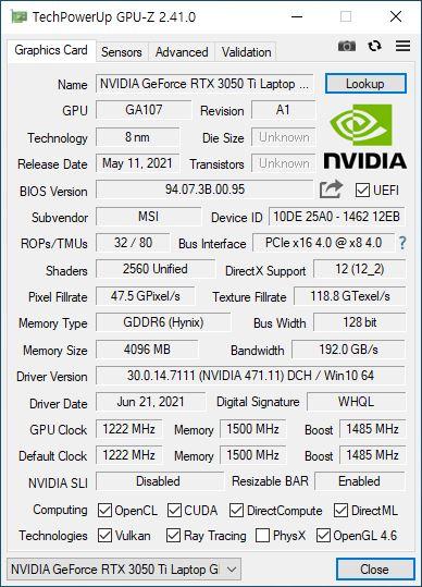 ▲ RTX 3050 Ti 랩톱 GPU. 기본 1222MHz에 부스트 적용 시 1485MHz로 표기되어 있다.