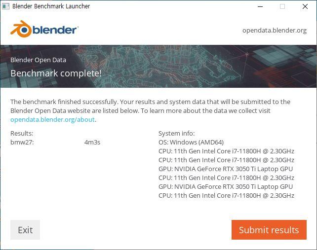 ▲ 블렌더 벤치마크 CPU 진행 결과. 4분 3초만에 완료했다. 참고로 8코어 16스레드의 코어 i7-10875H는 대략 4분 39초 걸린다.