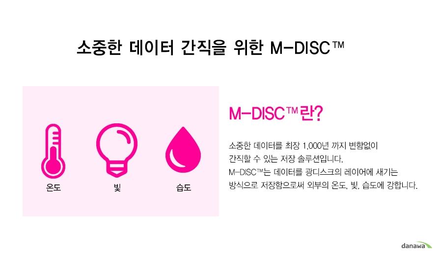소중한 데이터 간직을 위한 M-DISC    온도 빛 습도    M-DISC란?소중한 데이터를 최장 1,000년 까지 변함없이간직할 수 있는 저장 솔루션입니다.M-DISC는 데이터를 광디스크의 레이어에 새기는방식으로 저장함으로써 외부의 온도, 빛, 습도에 강합니다.